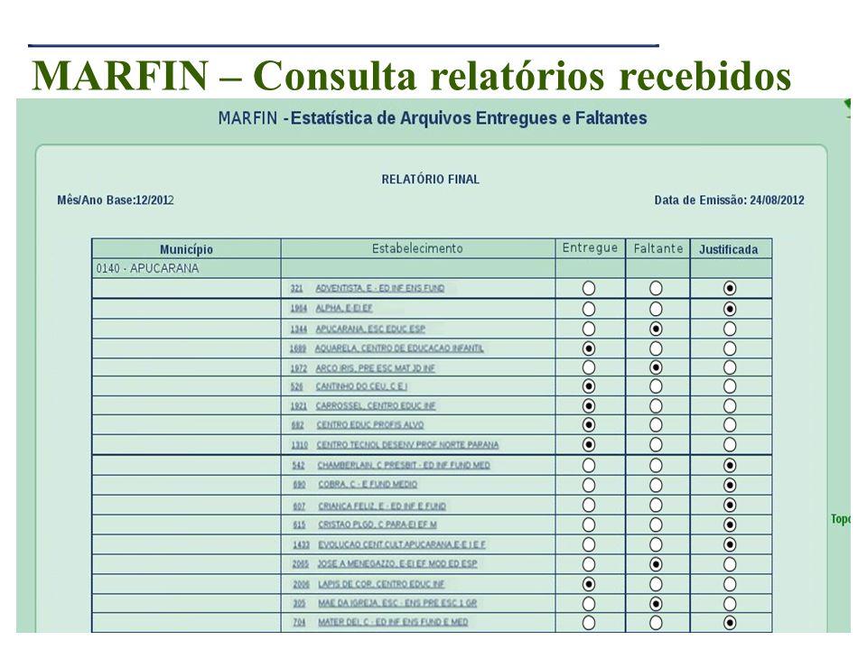 MARFIN – Consulta relatórios recebidos