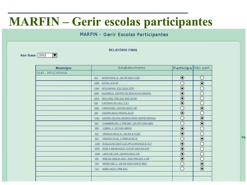 MARFIN – Gerir escolas participantes