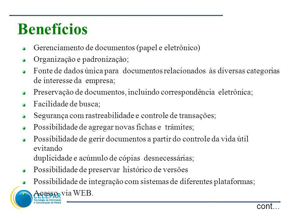 Benefícios cont... Gerenciamento de documentos (papel e eletrônico)