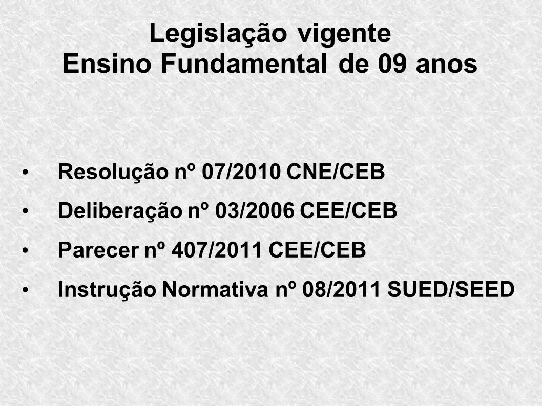 Legislação vigente Ensino Fundamental de 09 anos