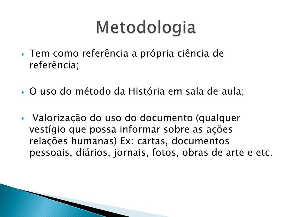 Metodologia Tem como referência a própria ciência de referência;