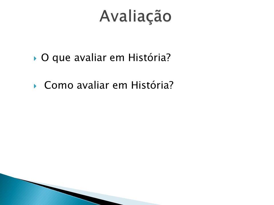 Avaliação O que avaliar em História Como avaliar em História