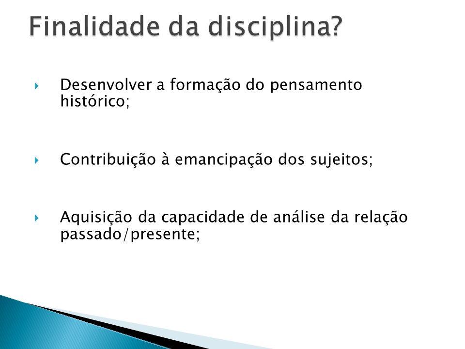 Finalidade da disciplina