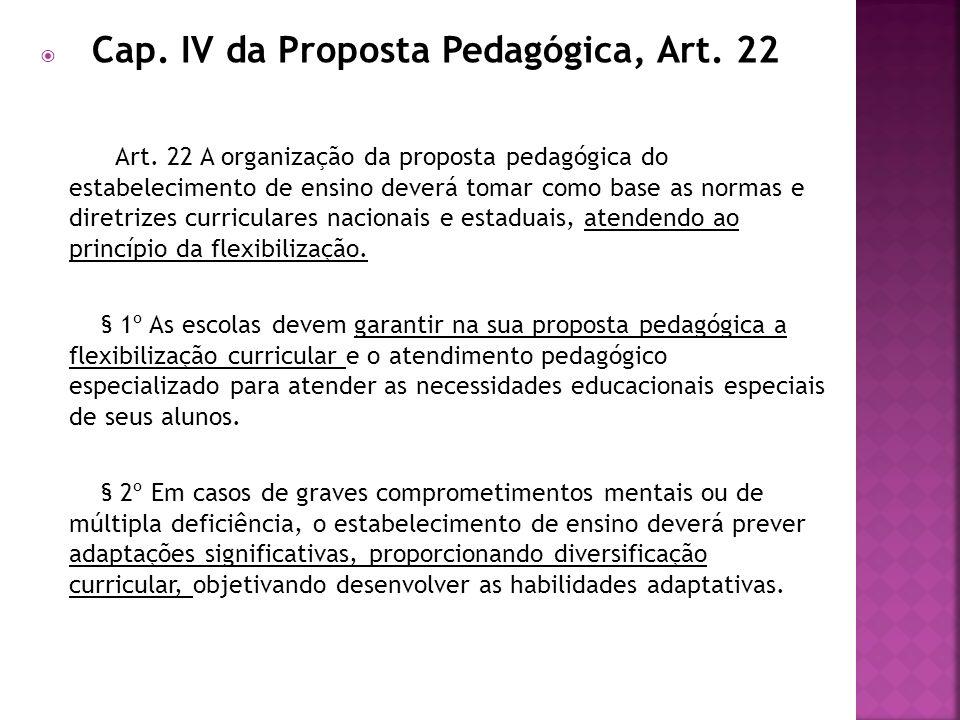 Cap. IV da Proposta Pedagógica, Art. 22