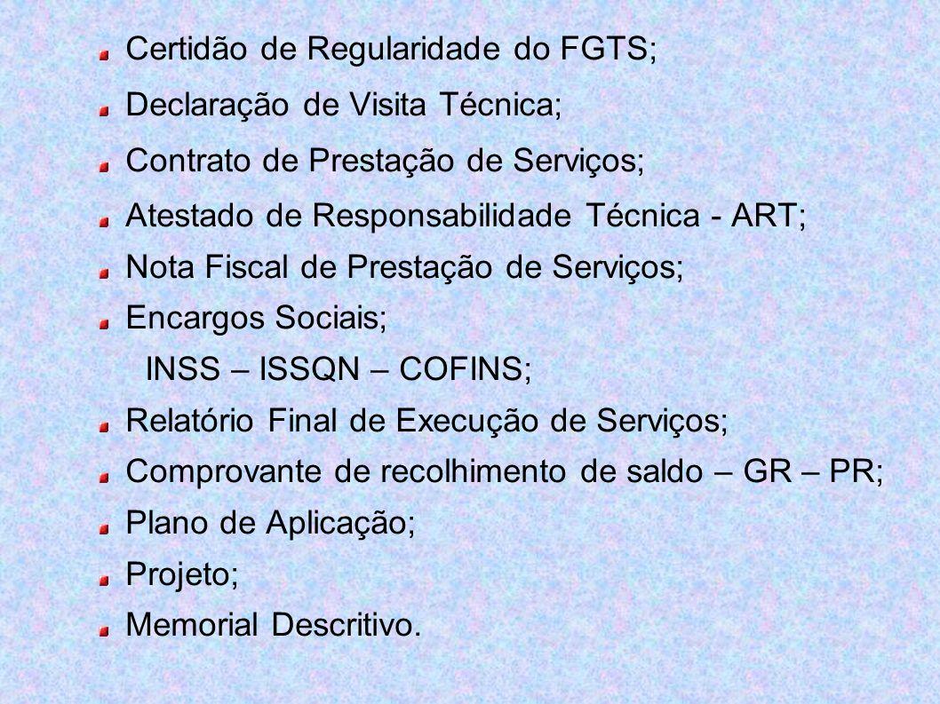Certidão de Regularidade do FGTS;