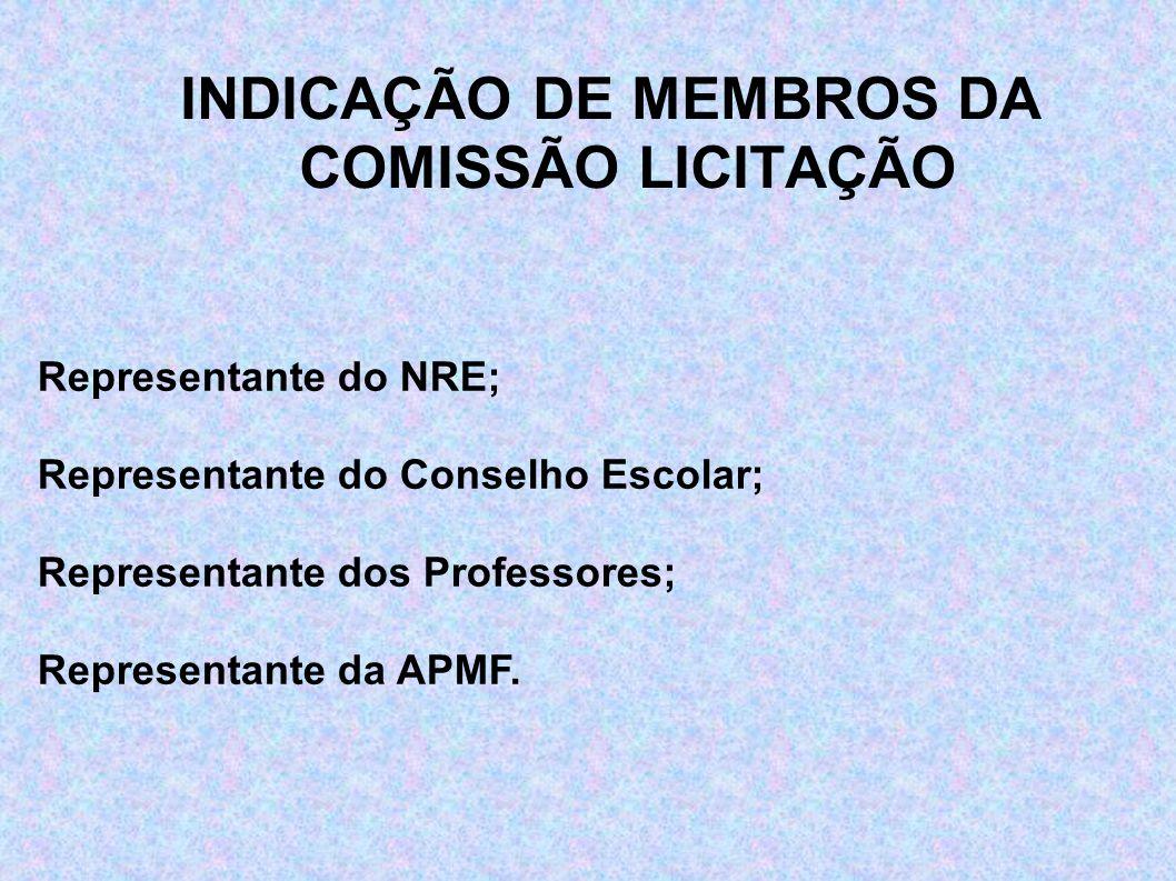 INDICAÇÃO DE MEMBROS DA COMISSÃO LICITAÇÃO