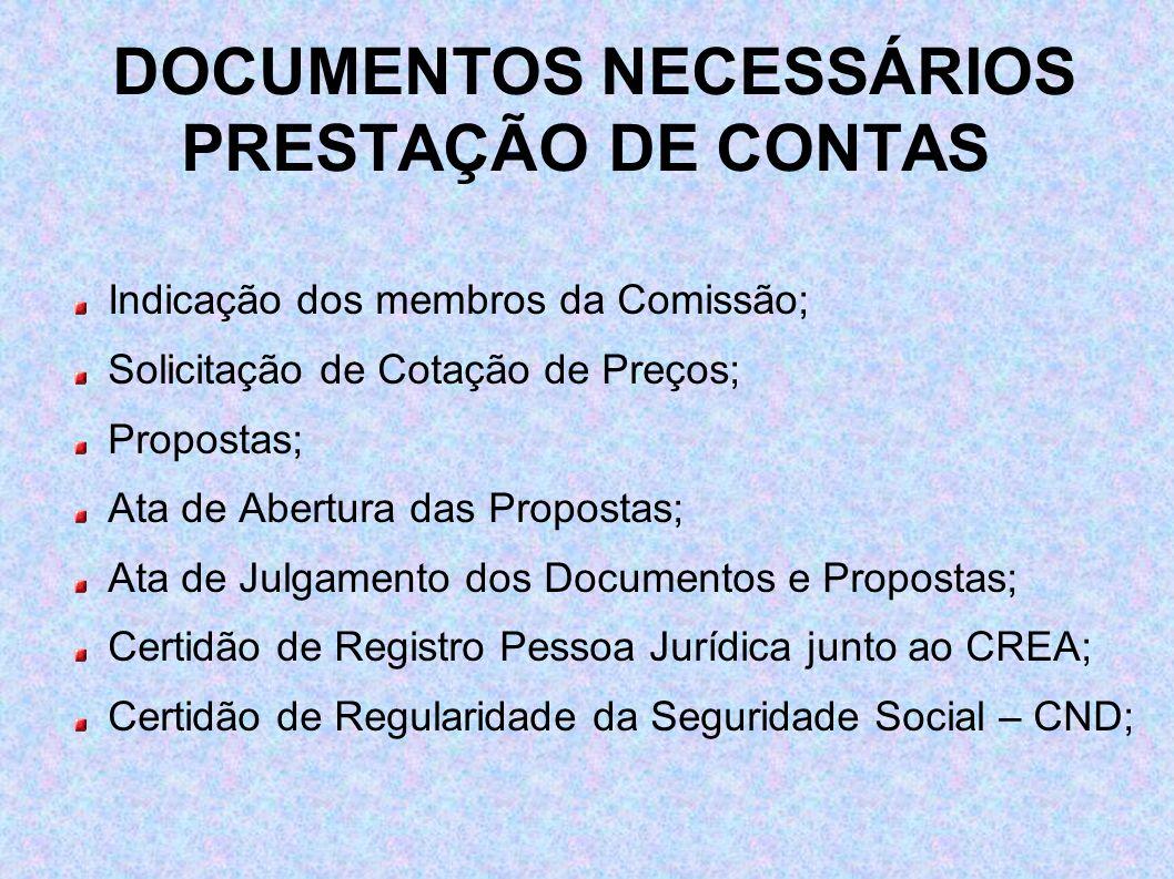 DOCUMENTOS NECESSÁRIOS PRESTAÇÃO DE CONTAS