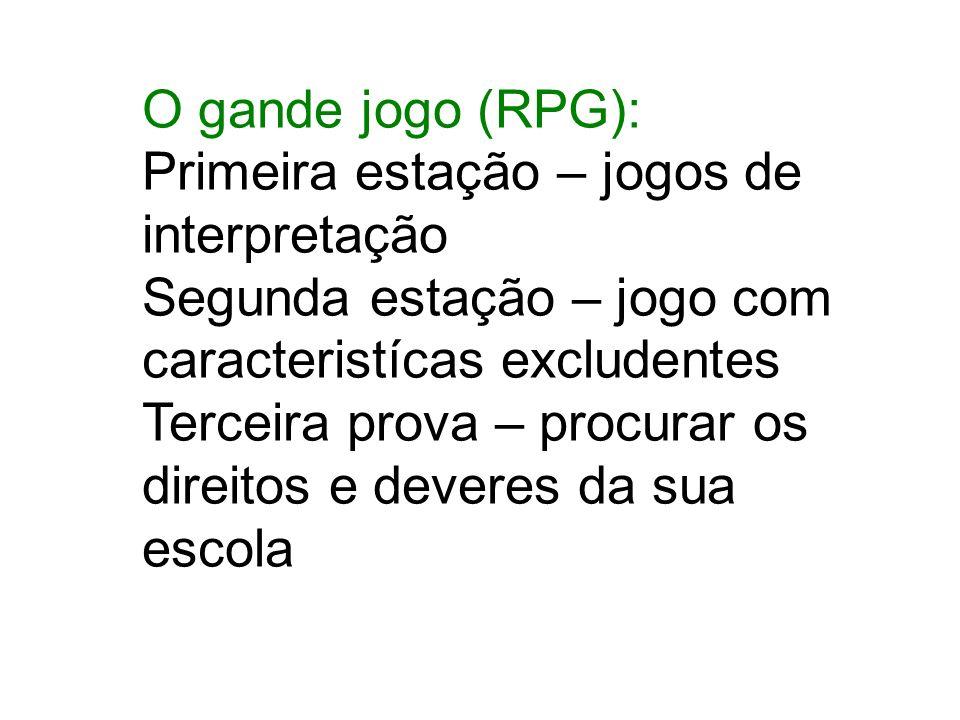 O gande jogo (RPG): Primeira estação – jogos de interpretação. Segunda estação – jogo com caracteristícas excludentes.