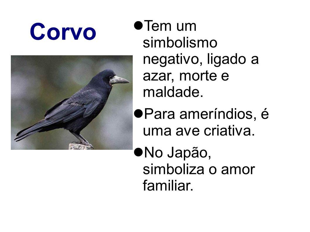 Corvo Tem um simbolismo negativo, ligado a azar, morte e maldade.