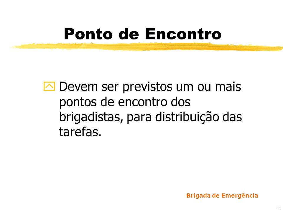 Ponto de EncontroDevem ser previstos um ou mais pontos de encontro dos brigadistas, para distribuição das tarefas.