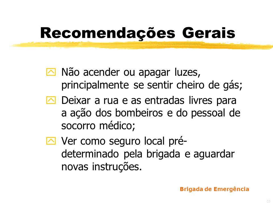 Recomendações Gerais Não acender ou apagar luzes, principalmente se sentir cheiro de gás;