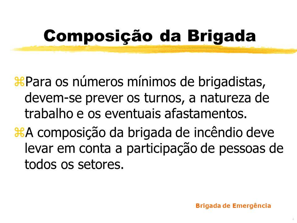 Composição da BrigadaPara os números mínimos de brigadistas, devem-se prever os turnos, a natureza de trabalho e os eventuais afastamentos.