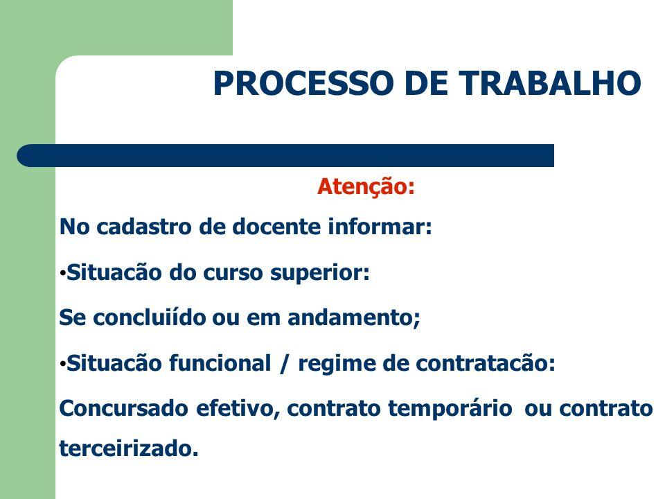PROCESSO DE TRABALHO Atenção: No cadastro de docente informar: