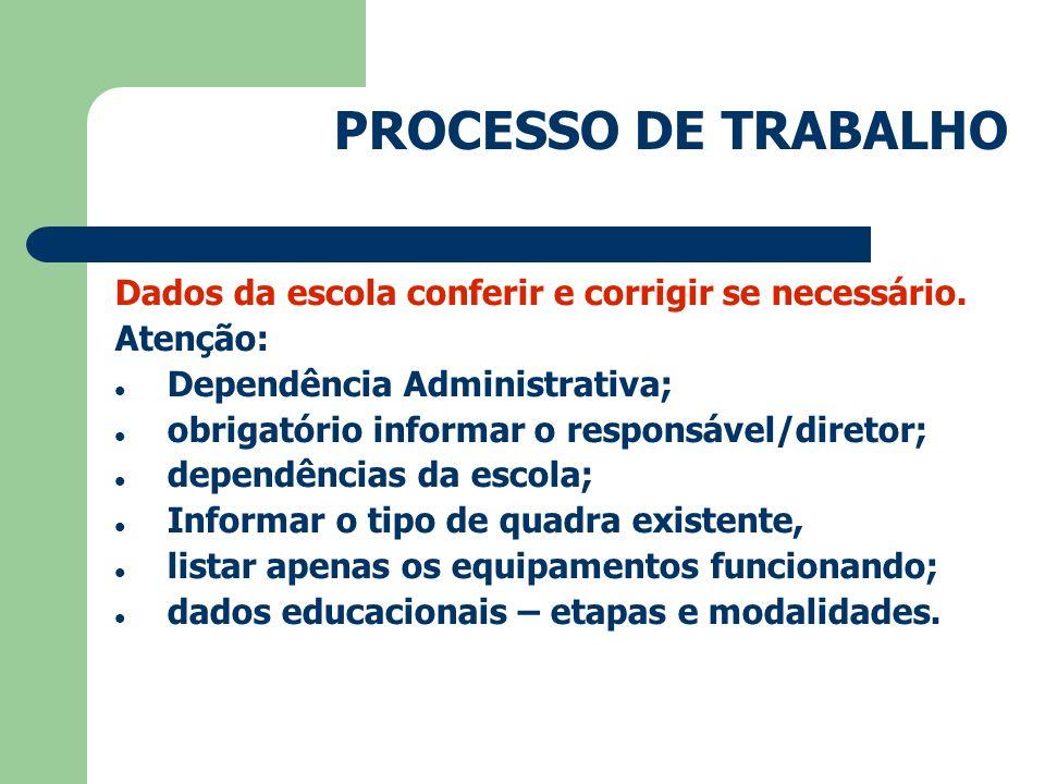 PROCESSO DE TRABALHO Dados da escola conferir e corrigir se necessário. Atenção: Dependência Administrativa;