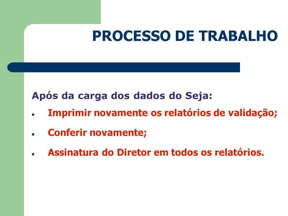 PROCESSO DE TRABALHO Após da carga dos dados do Seja: