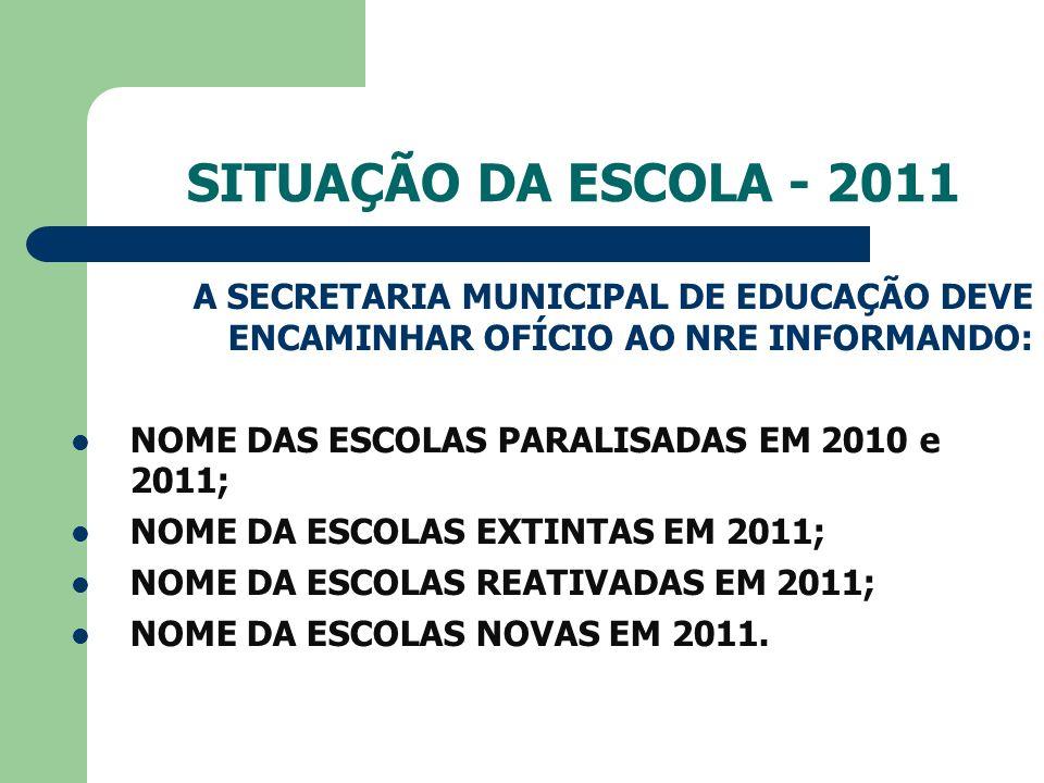 SITUAÇÃO DA ESCOLA - 2011 A SECRETARIA MUNICIPAL DE EDUCAÇÃO DEVE ENCAMINHAR OFÍCIO AO NRE INFORMANDO: