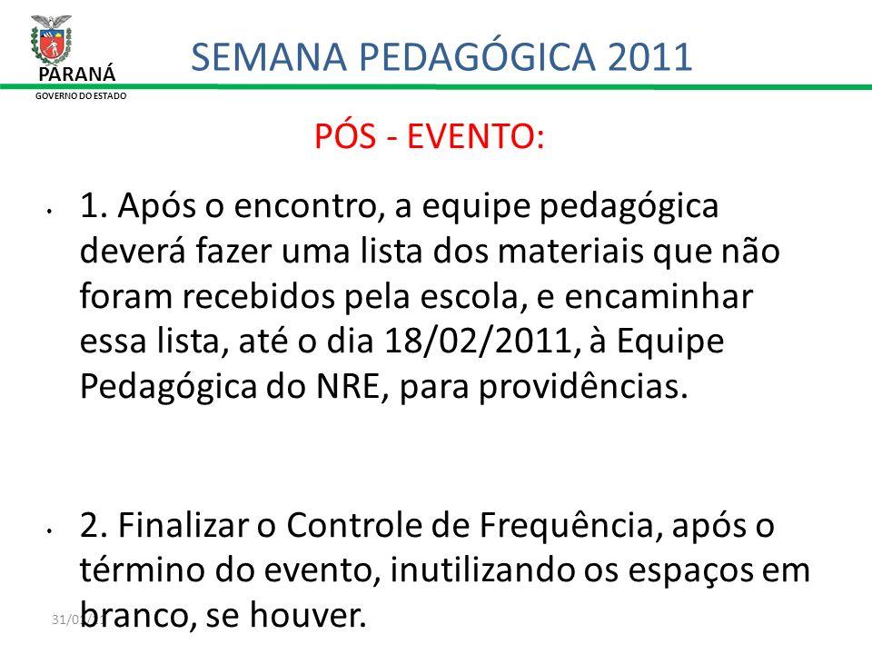 SEMANA PEDAGÓGICA 2011 PÓS - EVENTO:
