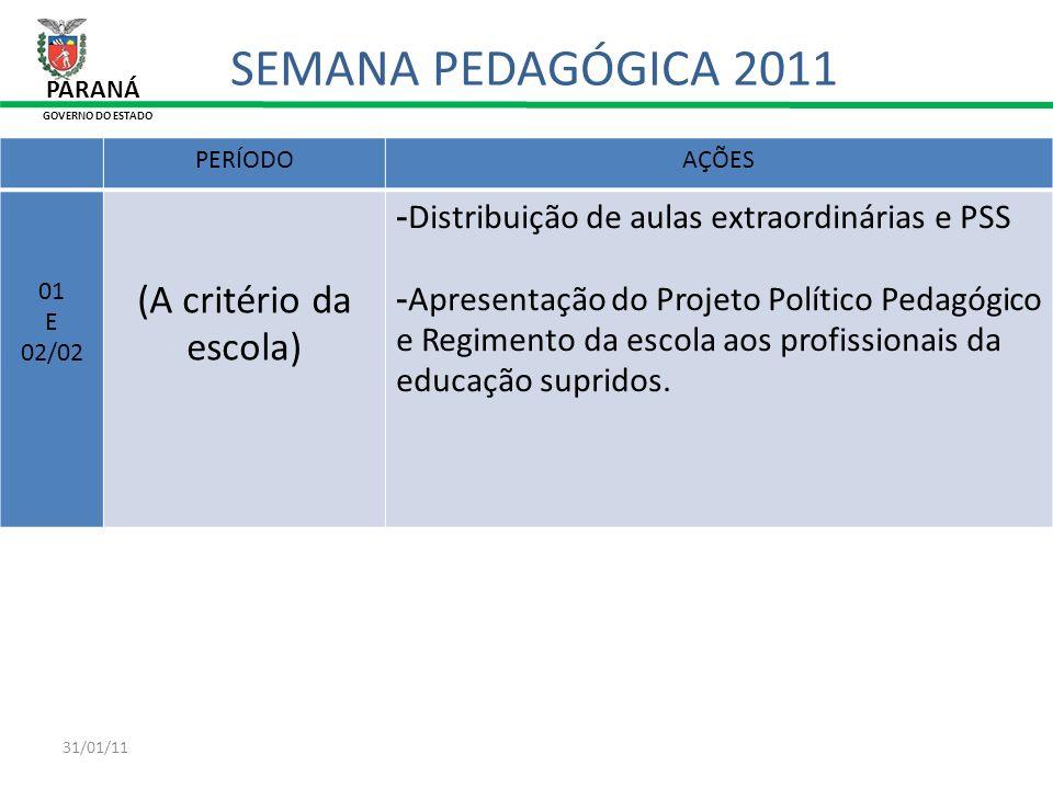 SEMANA PEDAGÓGICA 2011 (A critério da escola)