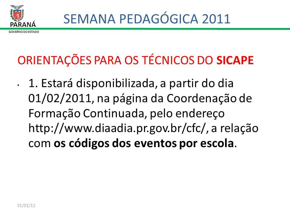 SEMANA PEDAGÓGICA 2011 ORIENTAÇÕES PARA OS TÉCNICOS DO SICAPE