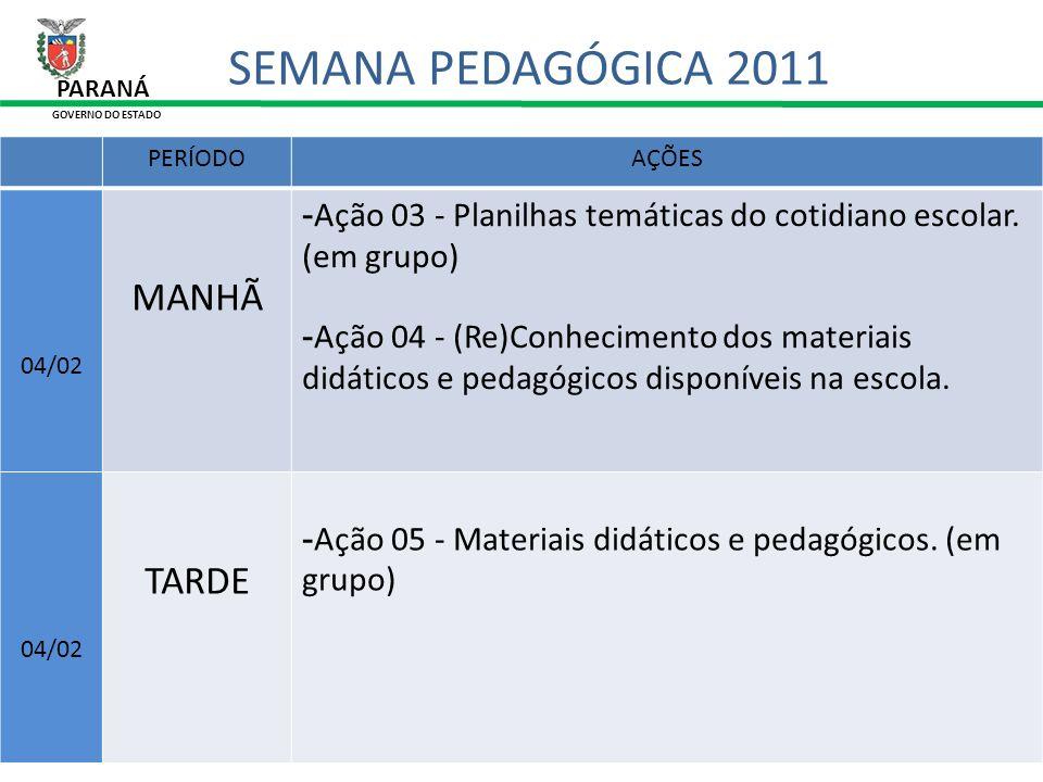 SEMANA PEDAGÓGICA 2011 MANHÃ TARDE