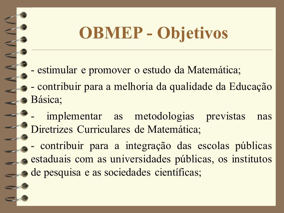 OBMEP - Objetivos - estimular e promover o estudo da Matemática;