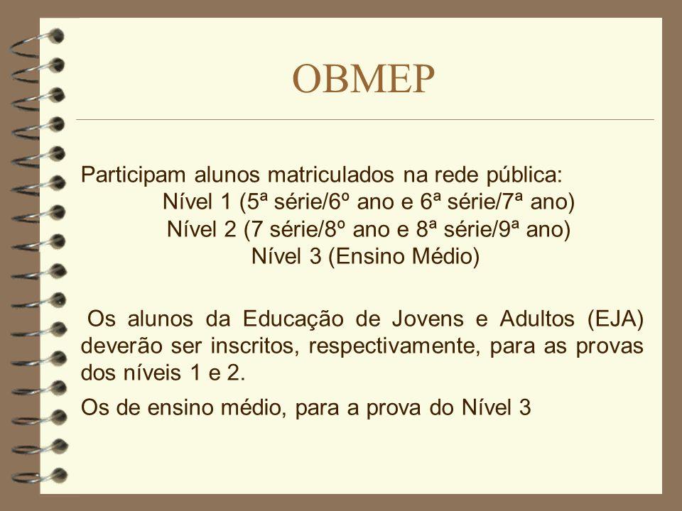 OBMEP Participam alunos matriculados na rede pública: