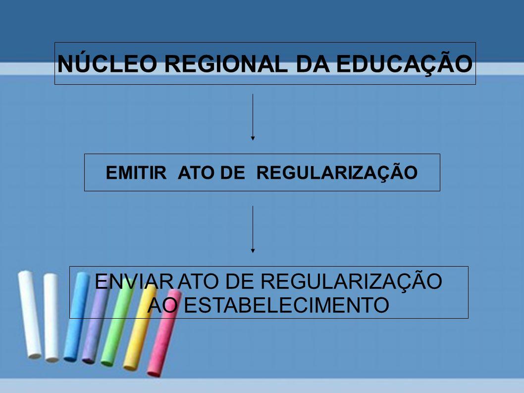 NÚCLEO REGIONAL DA EDUCAÇÃO EMITIR ATO DE REGULARIZAÇÃO