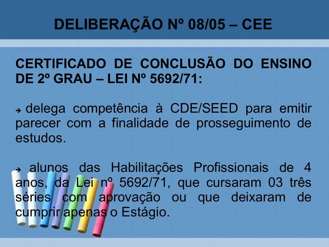 DELIBERAÇÃO Nº 08/05 – CEE CERTIFICADO DE CONCLUSÃO DO ENSINO DE 2º GRAU – LEI Nº 5692/71: