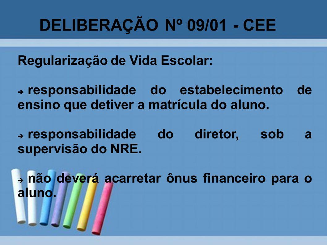 DELIBERAÇÃO Nº 09/01 - CEE Regularização de Vida Escolar: