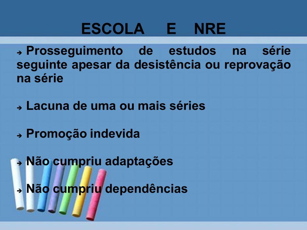 ESCOLA E NRE Prosseguimento de estudos na série seguinte apesar da desistência ou reprovação na série.