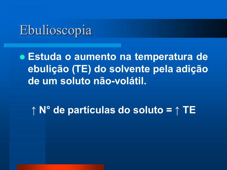 ↑ N° de partículas do soluto = ↑ TE