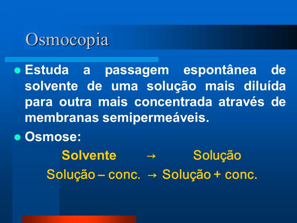 Osmocopia Estuda a passagem espontânea de solvente de uma solução mais diluída para outra mais concentrada através de membranas semipermeáveis.