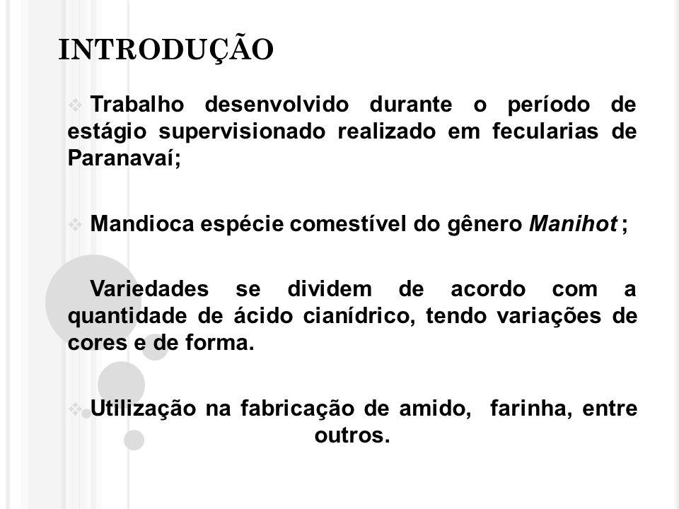 INTRODUÇÃO Trabalho desenvolvido durante o período de estágio supervisionado realizado em fecularias de Paranavaí;