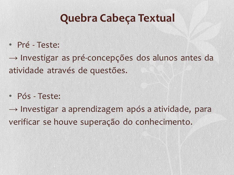 Quebra Cabeça Textual Pré - Teste: