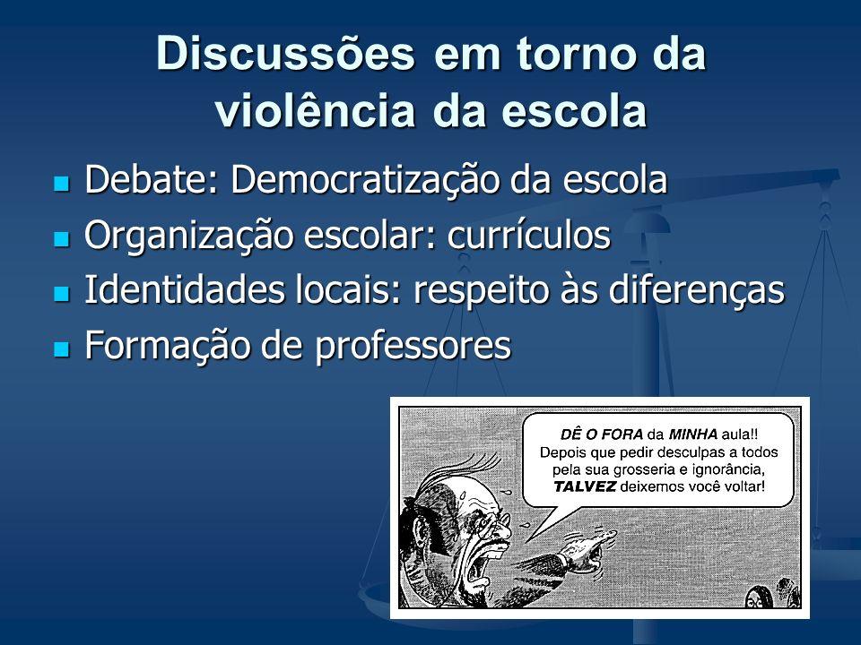Discussões em torno da violência da escola