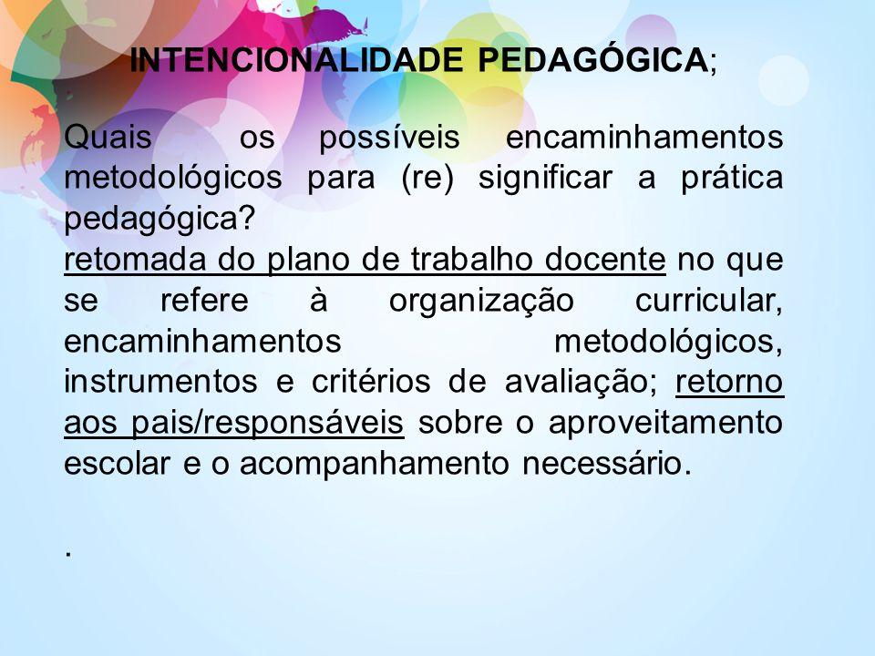 INTENCIONALIDADE PEDAGÓGICA;