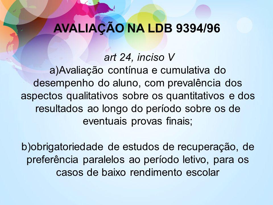 AVALIAÇÃO NA LDB 9394/96 art 24, inciso V