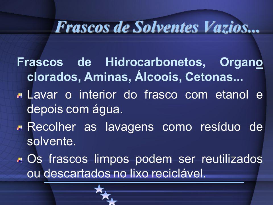 Frascos de Solventes Vazios...