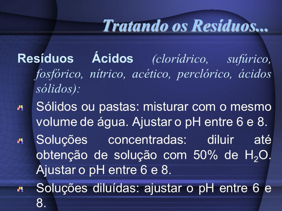 Tratando os Resíduos... Resíduos Ácidos (clorídrico, sufúrico, fosfórico, nítrico, acético, perclórico, ácidos sólidos):