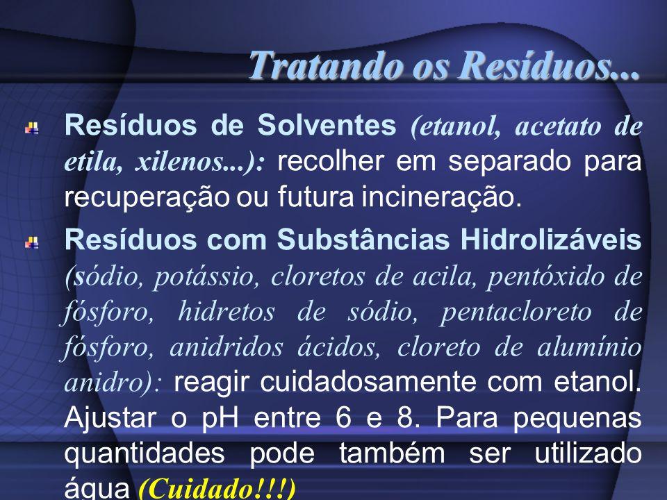 Tratando os Resíduos... Resíduos de Solventes (etanol, acetato de etila, xilenos...): recolher em separado para recuperação ou futura incineração.