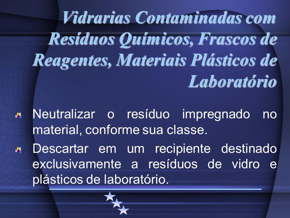 Vidrarias Contaminadas com Resíduos Químicos, Frascos de Reagentes, Materiais Plásticos de Laboratório