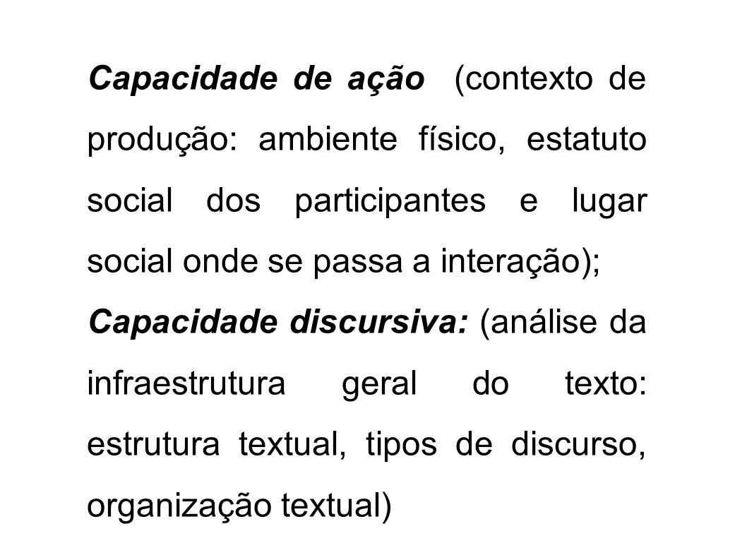 Capacidade de ação (contexto de produção: ambiente físico, estatuto social dos participantes e lugar social onde se passa a interação);