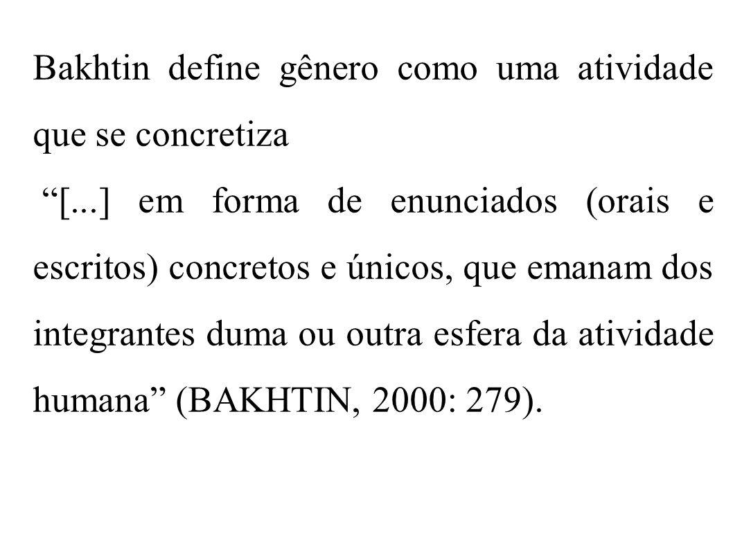 Bakhtin define gênero como uma atividade que se concretiza