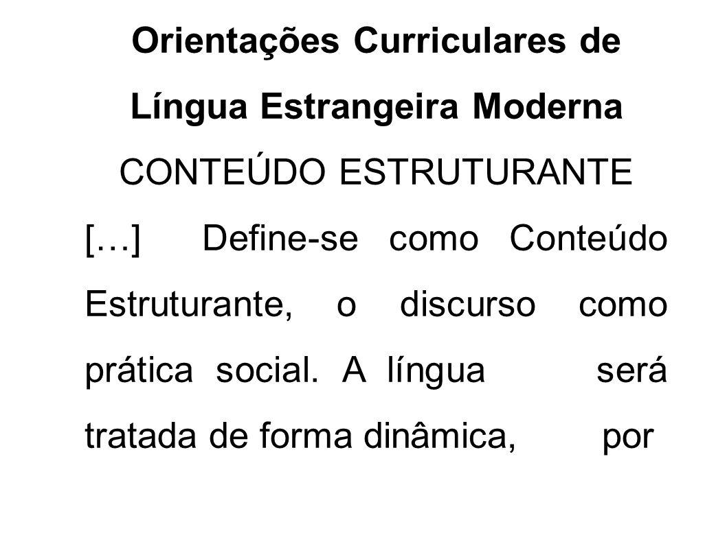 Orientações Curriculares de Língua Estrangeira Moderna