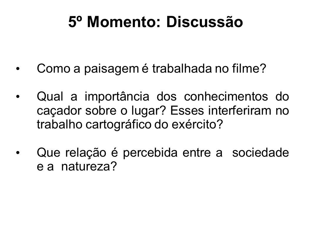 5º Momento: Discussão Como a paisagem é trabalhada no filme