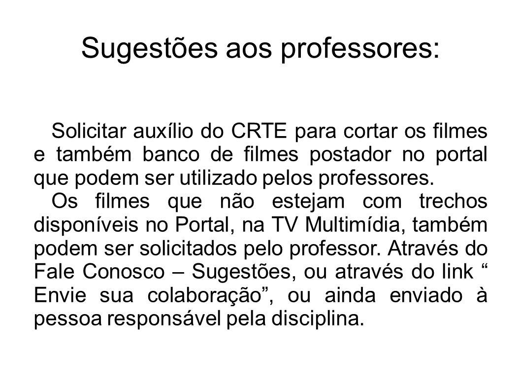 Sugestões aos professores: