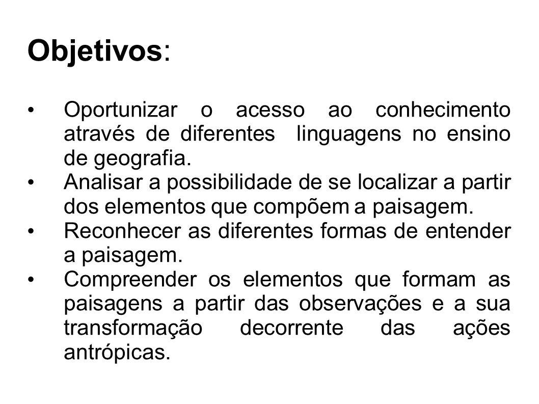 Objetivos: Oportunizar o acesso ao conhecimento através de diferentes linguagens no ensino de geografia.