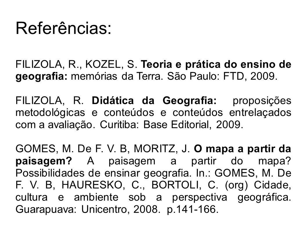 Referências: FILIZOLA, R., KOZEL, S. Teoria e prática do ensino de geografia: memórias da Terra. São Paulo: FTD, 2009.