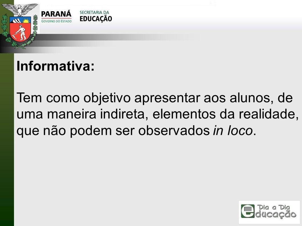 Informativa:Tem como objetivo apresentar aos alunos, de uma maneira indireta, elementos da realidade, que não podem ser observados in loco.