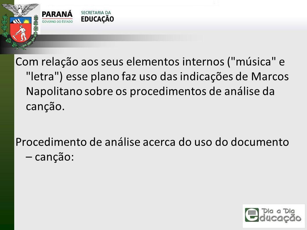 Com relação aos seus elementos internos ( música e letra ) esse plano faz uso das indicações de Marcos Napolitano sobre os procedimentos de análise da canção.